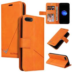GQ.UTROBE Right Angle Silver Pendant Leather Wallet Phone Case for iPhone 8 Plus / 7 Plus 7P(5.5 inch) - Orange
