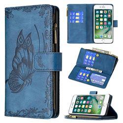 Binfen Color Imprint Vivid Butterfly Buckle Zipper Multi-function Leather Phone Wallet for iPhone 8 Plus / 7 Plus 7P(5.5 inch) - Blue