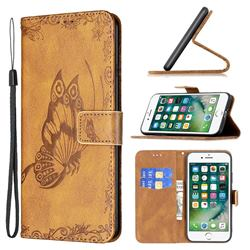 Binfen Color Imprint Vivid Butterfly Leather Wallet Case for iPhone 8 Plus / 7 Plus 7P(5.5 inch) - Brown