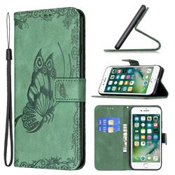 Binfen Color Imprint Vivid Butterfly Leather Wallet Case for iPhone 8 Plus / 7 Plus 7P(5.5 inch) - Green