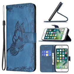 Binfen Color Imprint Vivid Butterfly Leather Wallet Case for iPhone 8 Plus / 7 Plus 7P(5.5 inch) - Blue