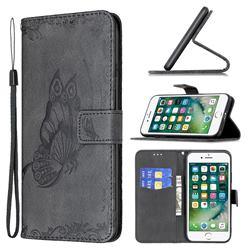 Binfen Color Imprint Vivid Butterfly Leather Wallet Case for iPhone 8 Plus / 7 Plus 7P(5.5 inch) - Black