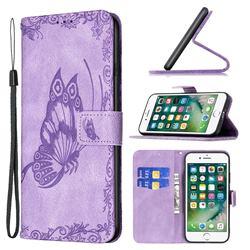 Binfen Color Imprint Vivid Butterfly Leather Wallet Case for iPhone 8 Plus / 7 Plus 7P(5.5 inch) - Purple