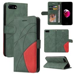 Luxury Two-color Stitching Leather Wallet Case Cover for iPhone 8 Plus / 7 Plus 7P(5.5 inch) - Green
