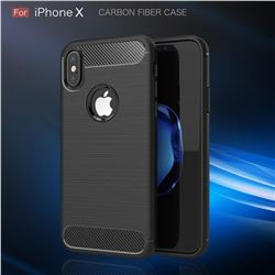 Luxury Carbon Fiber Brushed Wire Drawing Silicone TPU Back Cover for iPhone XS / X / 10 (5.8 inch) (Black)