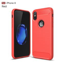 Luxury Carbon Fiber Brushed Wire Drawing Silicone TPU Back Cover for iPhone XS / X / 10 (5.8 inch) (Red)