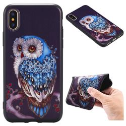 Ice Owl 3D Embossed Relief Black TPU Back Cover for iPhone XS / X / 10 (5.8 inch)