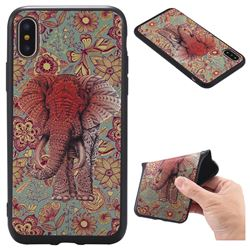 Colorfull Elephant 3D Embossed Relief Black TPU Back Cover for iPhone XS / X / 10 (5.8 inch)