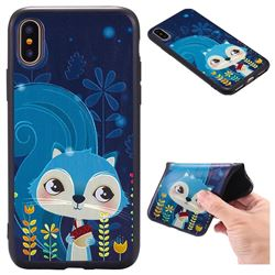 Blue Squirrels 3D Embossed Relief Black TPU Back Cover for iPhone XS / X / 10 (5.8 inch)