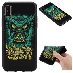 Owl Devil 3D Embossed Relief Black TPU Back Cover for iPhone XS / X / 10 (5.8 inch)