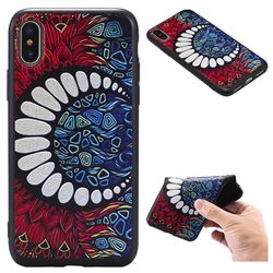 Moon Teeth 3D Embossed Relief Black TPU Back Cover for iPhone XS / X / 10 (5.8 inch)