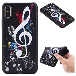 Music Symbol 3D Embossed Relief Black TPU Back Cover for iPhone XS / X / 10 (5.8 inch)