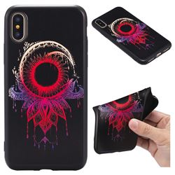 Sun Chimes 3D Embossed Relief Black TPU Back Cover for iPhone XS / X / 10 (5.8 inch)