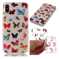 Colorful Butterfly Super Clear Soft TPU Back Cover for iPhone XS / X / 10 (5.8 inch)
