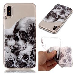 Black Flower Skull Super Clear Soft TPU Back Cover for iPhone XS / X / 10 (5.8 inch)