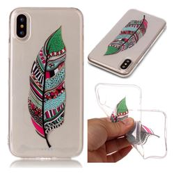 Green Feathers Super Clear Soft TPU Back Cover for iPhone XS / X / 10 (5.8 inch)