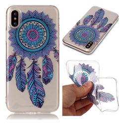 Blue Wind Chimes Super Clear Soft TPU Back Cover for iPhone XS / X / 10 (5.8 inch)