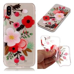 Painting Flowers Super Clear Soft TPU Back Cover for iPhone XS / X / 10 (5.8 inch)
