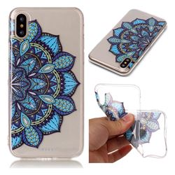 Peacock flower Super Clear Soft TPU Back Cover for iPhone XS / X / 10 (5.8 inch)