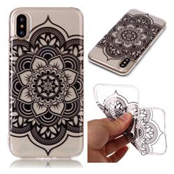 Black Mandala Flower Super Clear Soft TPU Back Cover for iPhone XS / X / 10 (5.8 inch)