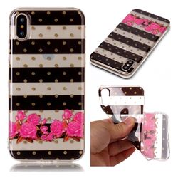 Striped Flowers Super Clear Soft TPU Back Cover for iPhone XS / X / 10 (5.8 inch)