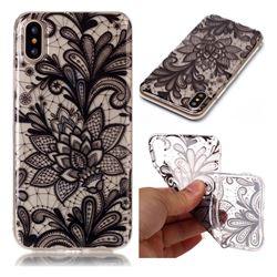 Black Rose Super Clear Soft TPU Back Cover for iPhone XS / X / 10 (5.8 inch)
