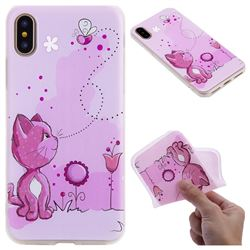 Cat and Bee 3D Relief Matte Soft TPU Back Cover for iPhone XS / X / 10 (5.8 inch)