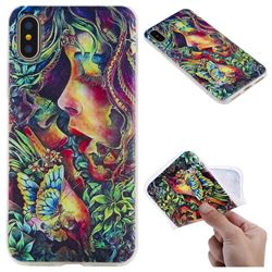 Butterfly Kiss 3D Relief Matte Soft TPU Back Cover for iPhone XS / X / 10 (5.8 inch)