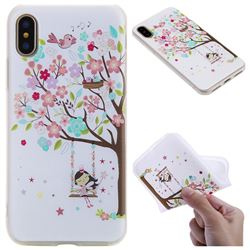 Tree and Girl 3D Relief Matte Soft TPU Back Cover for iPhone XS / X / 10 (5.8 inch)