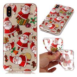 Santa Claus Super Clear Soft TPU Back Cover for iPhone XS / X / 10 (5.8 inch)