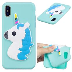 Blue Hair Unicorn Soft 3D Silicone Case for iPhone XS / X / 10 (5.8 inch)