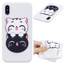Couple Cats Soft 3D Silicone Case for iPhone XS / X / 10 (5.8 inch)