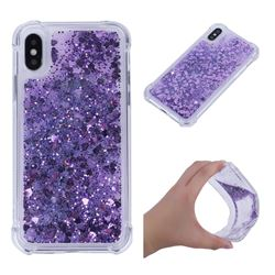 Dynamic Liquid Glitter Sand Quicksand Star TPU Case for iPhone XS / X / 10 (5.8 inch) - Purple