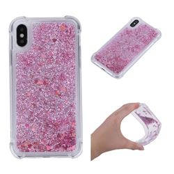 Dynamic Liquid Glitter Sand Quicksand Star TPU Case for iPhone XS / X / 10 (5.8 inch) - Diamond Rose