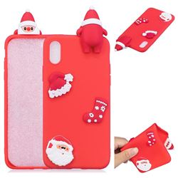 Red Santa Claus Christmas Xmax Soft 3D Silicone Case for iPhone XS / X / 10 (5.8 inch)