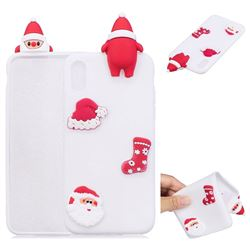 White Santa Claus Christmas Xmax Soft 3D Silicone Case for iPhone XS / X / 10 (5.8 inch)