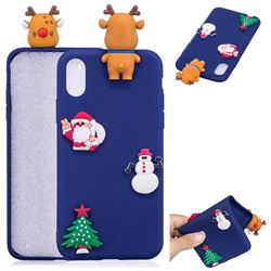 Navy Elk Christmas Xmax Soft 3D Silicone Case for iPhone XS / X / 10 (5.8 inch)