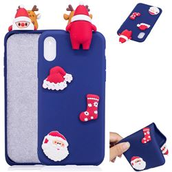 Navy Santa Claus Christmas Xmax Soft 3D Silicone Case for iPhone XS / X / 10 (5.8 inch)