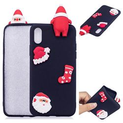 Black Santa Claus Christmas Xmax Soft 3D Silicone Case for iPhone XS / X / 10 (5.8 inch)