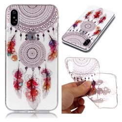 Color Feather Campanula Super Clear Soft TPU Back Cover for iPhone XS / X / 10 (5.8 inch)