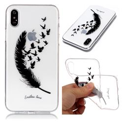 Feather Flying Birds Super Clear Soft TPU Back Cover for iPhone XS / X / 10 (5.8 inch)