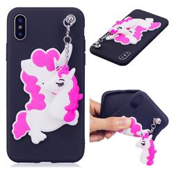 Unicorn Pendant Soft 3D Silicone Case for iPhone XS / X / 10 (5.8 inch) - Black