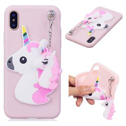 Unicorn Pendant Soft 3D Silicone Case for iPhone XS / X / 10 (5.8 inch) - Pink