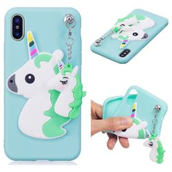 Unicorn Pendant Soft 3D Silicone Case for iPhone XS / X / 10 (5.8 inch) - Green
