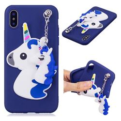 Unicorn Pendant Soft 3D Silicone Case for iPhone XS / X / 10 (5.8 inch) - Blue
