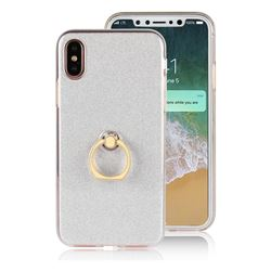 Luxury Soft TPU Glitter Back Ring Cover with 360 Rotate Finger Holder Buckle for iPhone XS / X / 10 (5.8 inch) - White