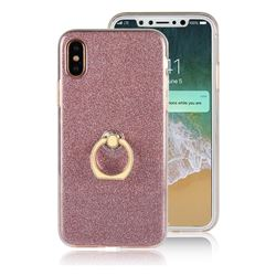 Luxury Soft TPU Glitter Back Ring Cover with 360 Rotate Finger Holder Buckle for iPhone XS / X / 10 (5.8 inch) - Pink