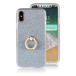 Luxury Soft TPU Glitter Back Ring Cover with 360 Rotate Finger Holder Buckle for iPhone XS / X / 10 (5.8 inch) - Blue