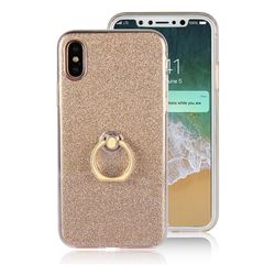 Luxury Soft TPU Glitter Back Ring Cover with 360 Rotate Finger Holder Buckle for iPhone XS / X / 10 (5.8 inch) - Golden