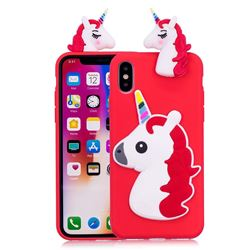 Unicorn Soft 3D Silicone Case for iPhone XS / X / 10 (5.8 inch) - Red